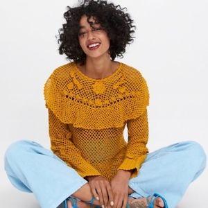 Zara Mustard Crochet Knit Sweater Ruffle Mustard M
